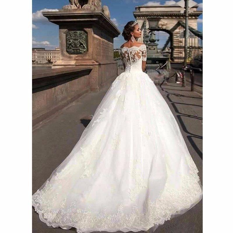 Short Sleeve Lace Vintage Princess Wedding Dresses - Uniqistic.com ...