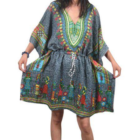 Grey Kaftan Beach Cover Dashiki Womens Print Up Mogul African Top 5wY8q0