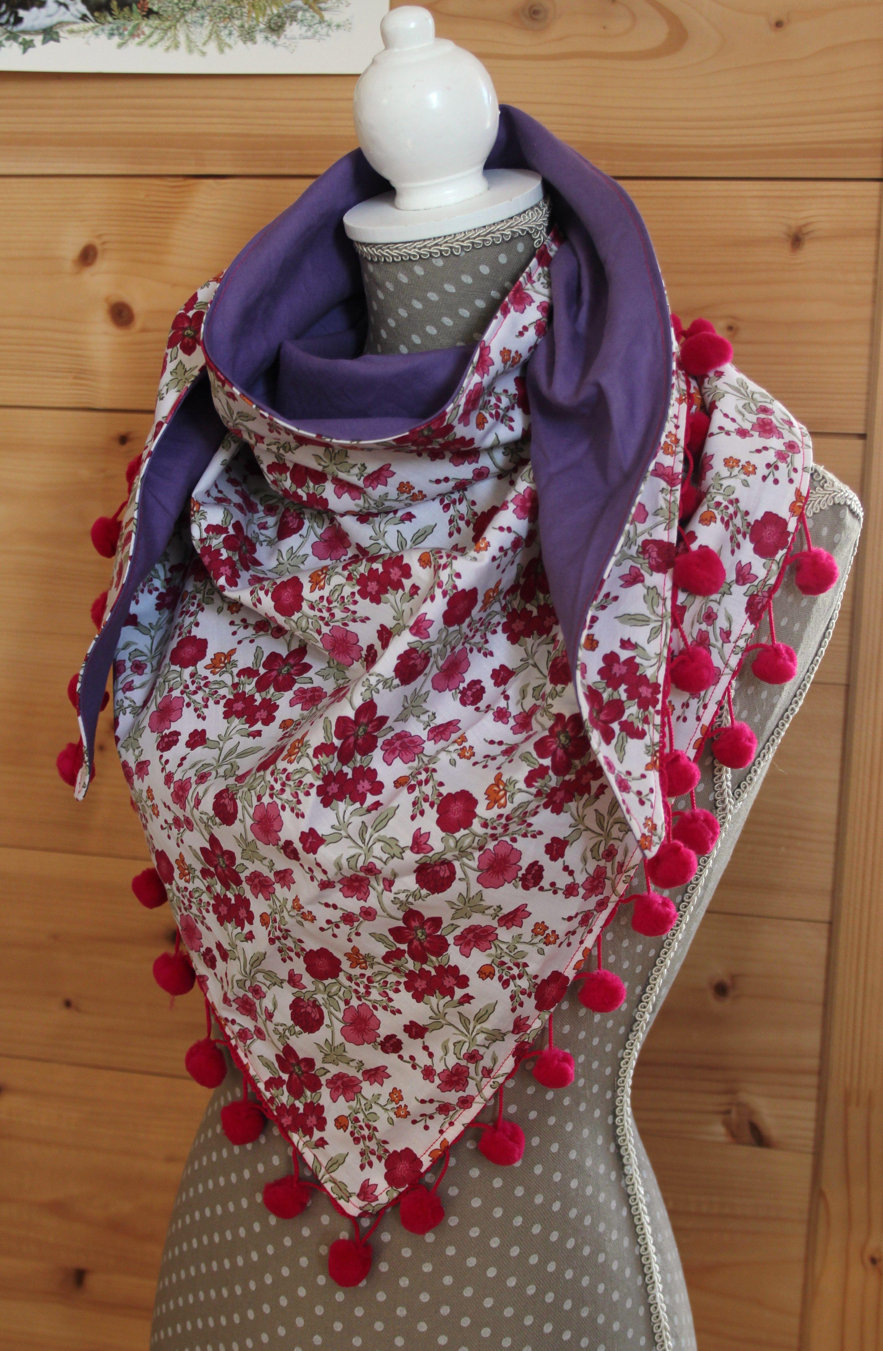 Chèche à pompons, rose et mauve   Couture   Costura, Chal et Bufandas fe57e78b5a9
