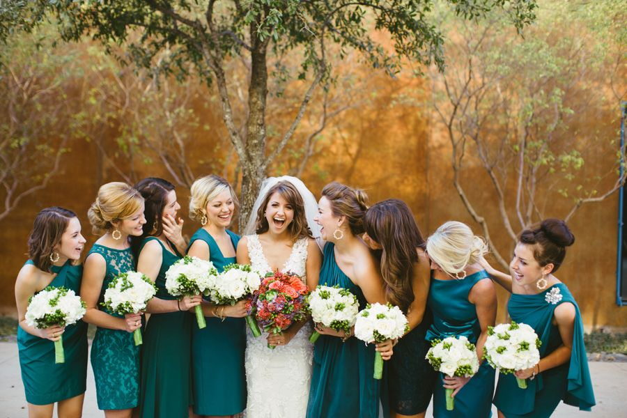 bridesmaids in all different dresses