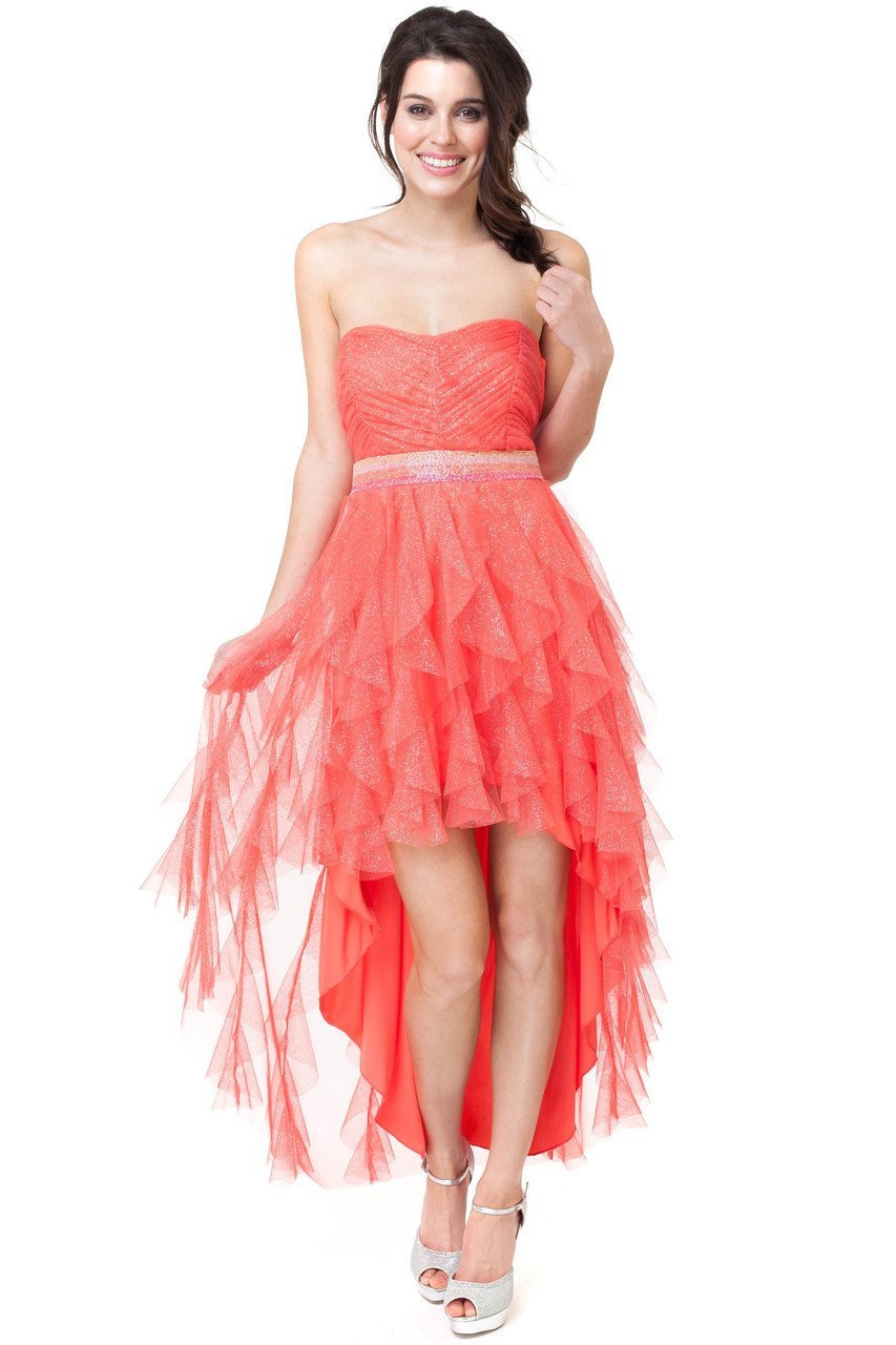 Strapless jewel embellished waist highlow dress fire
