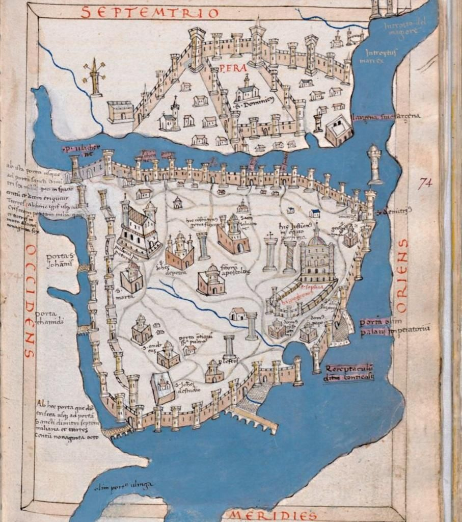 The Oldest Known Map Of Constantinople (ca. 1420!) By Cristoforo  Buondelmonti: Bibl. Medicea Laurenziana Plut. 29.25