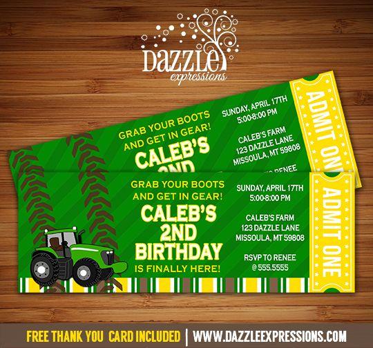 Printable John Deere Tractor Inspired Ticket Birthday Invitation - John deere 2nd birthday party invitations
