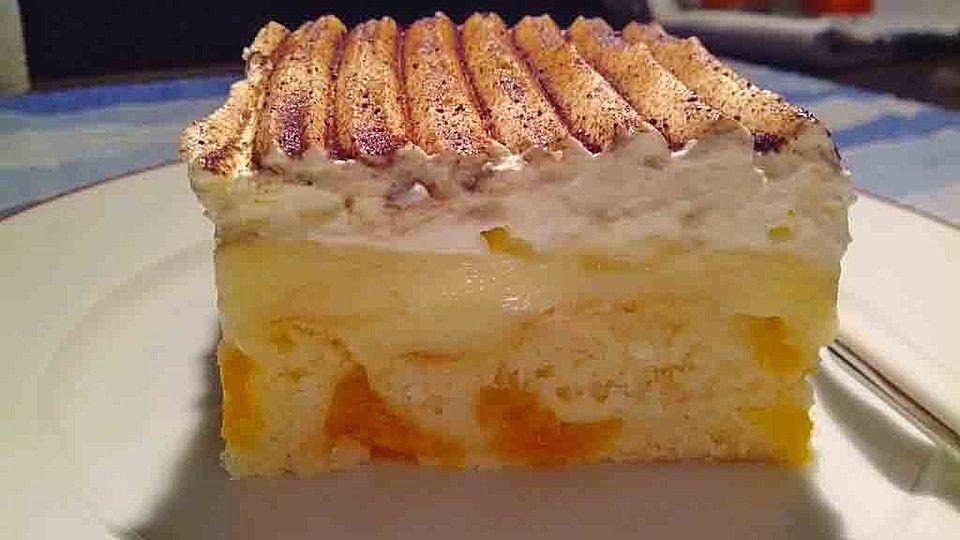 Fanta - Schmand - Kuchen mit Pudding und Mandarinchen, ein