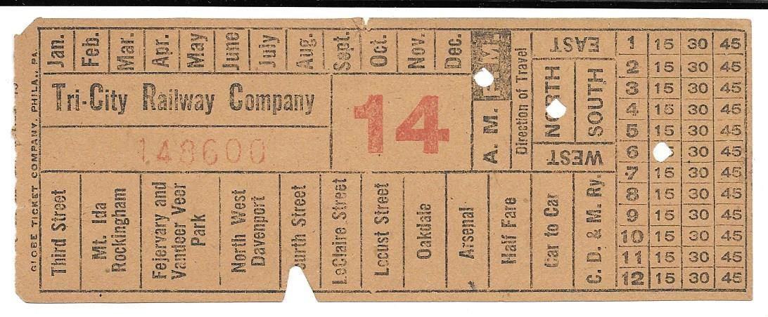 Front of streetcar transfer from Tri-City Railway Company (Rock Island/Moline, Illinois; Davenport, Iowa) (1916)