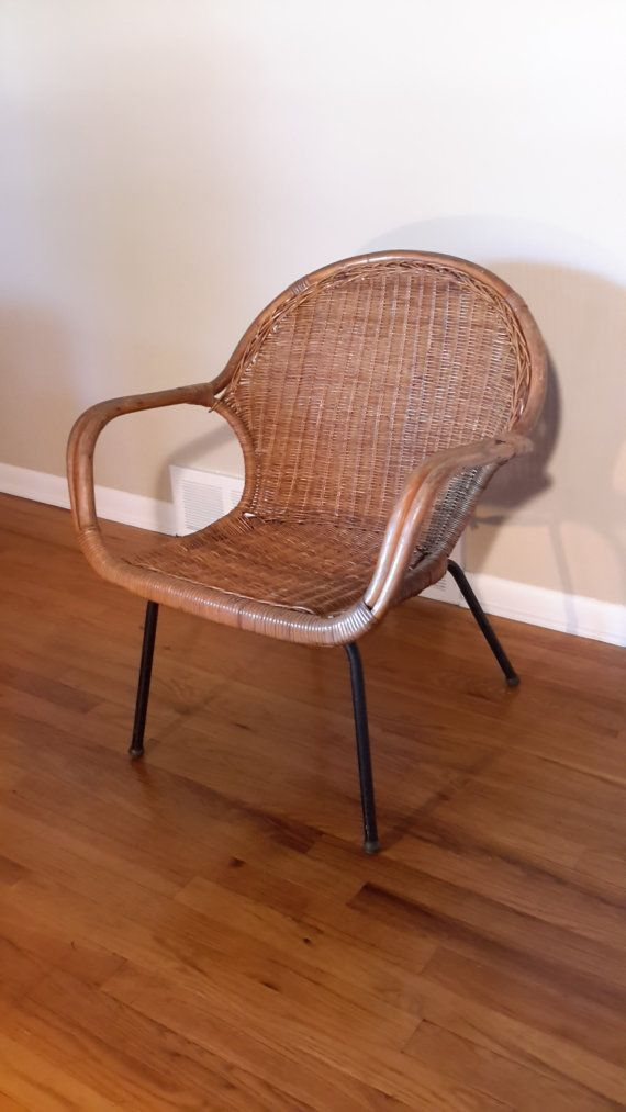 Perfect Mid Century Rattan Accent Side Chair By ProRefineFurnishings