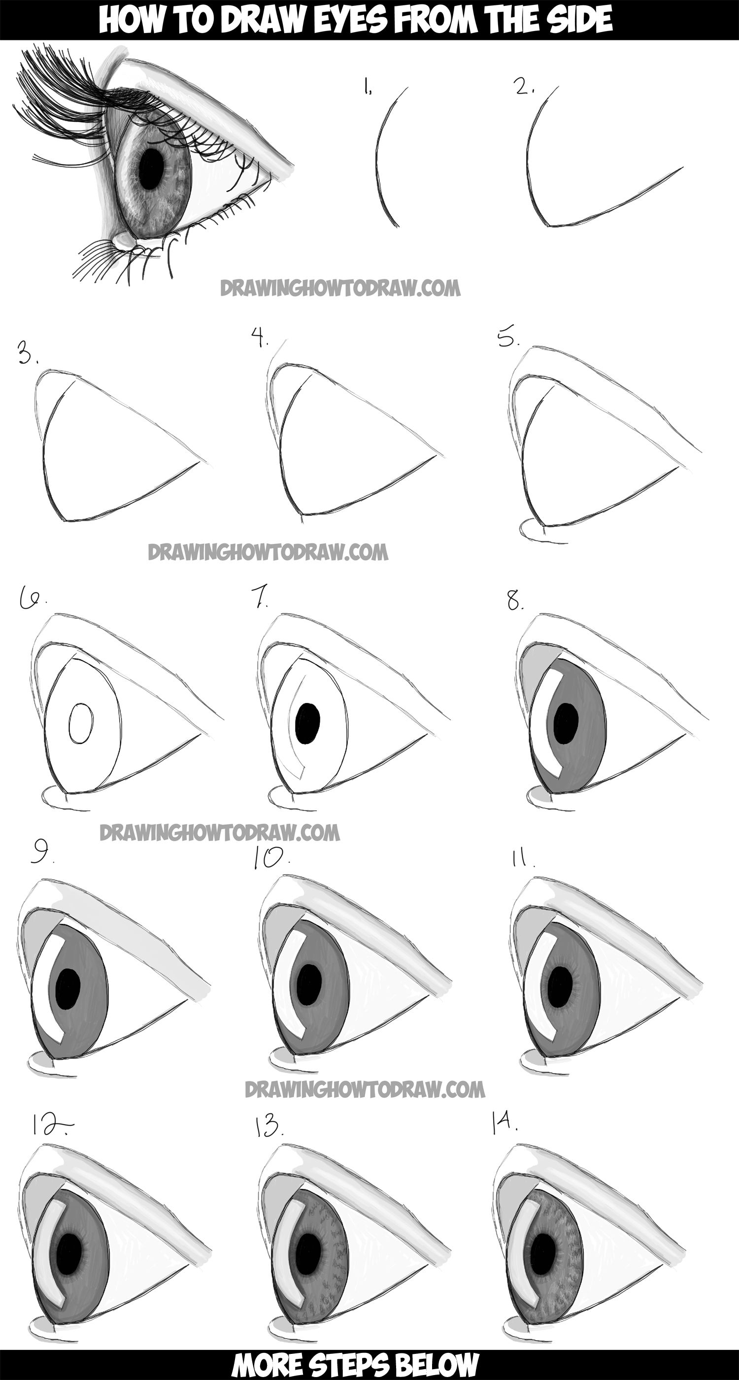 How to draw realistic eyes from the side profile view for Learn to draw cartoons step by step lessons
