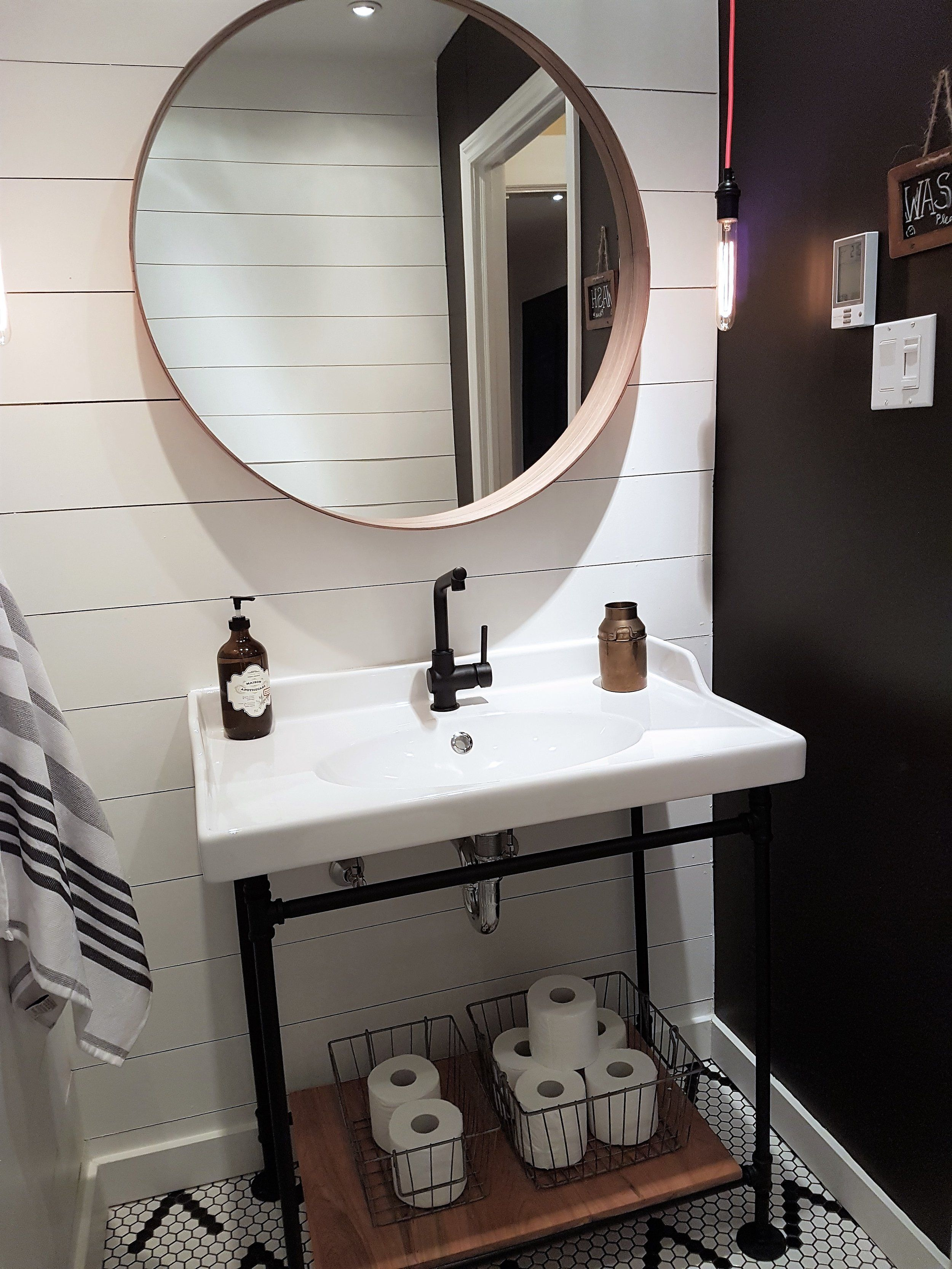 Shiplap Industrial Powder Room By Olive Neon Interior Design Bespoke Vanity Sink Faucet And Mirror From Ikea Powder Room Rooms Reveal Design