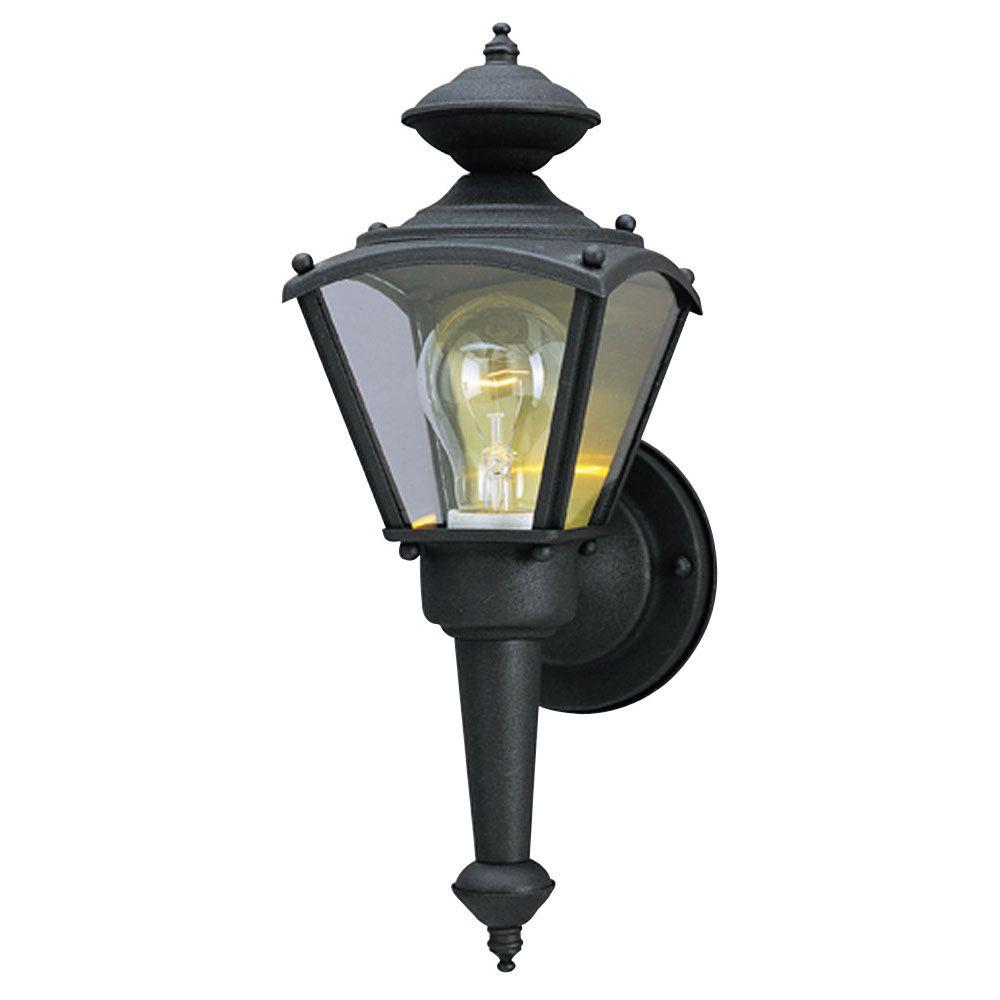 Westinghouse 1 Light Matte Black Steel Exterior Wall Coach Light Sconce With Clear Glass Panels 6698300 The Home Depot Outdoor Wall Lantern Wall Lantern Exterior Light Fixtures