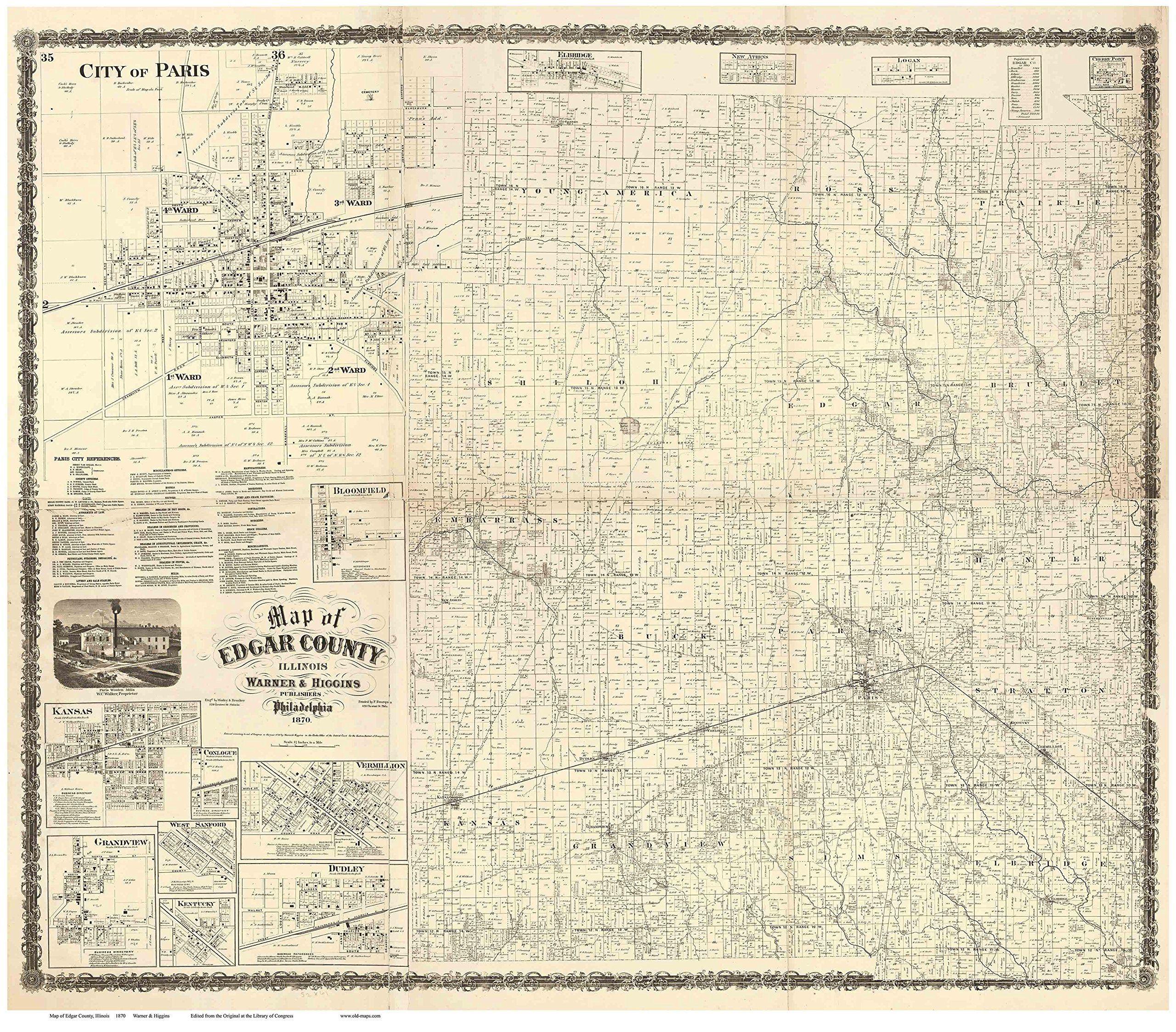 Edgar county illinois wall map reprint with homeowner names