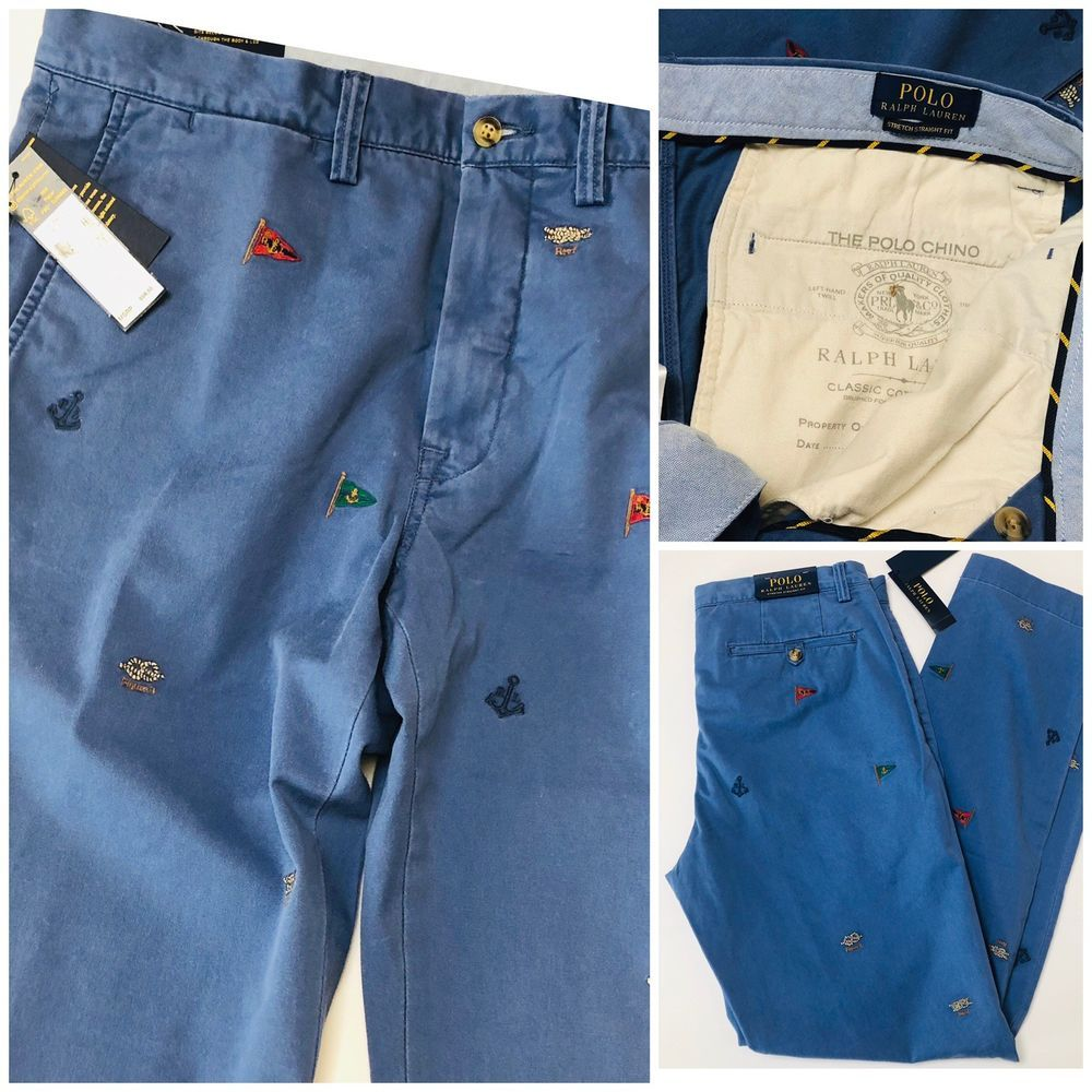 32x32, Gray Polo Ralph Lauren Chinos Mens Stretch Classic Fit