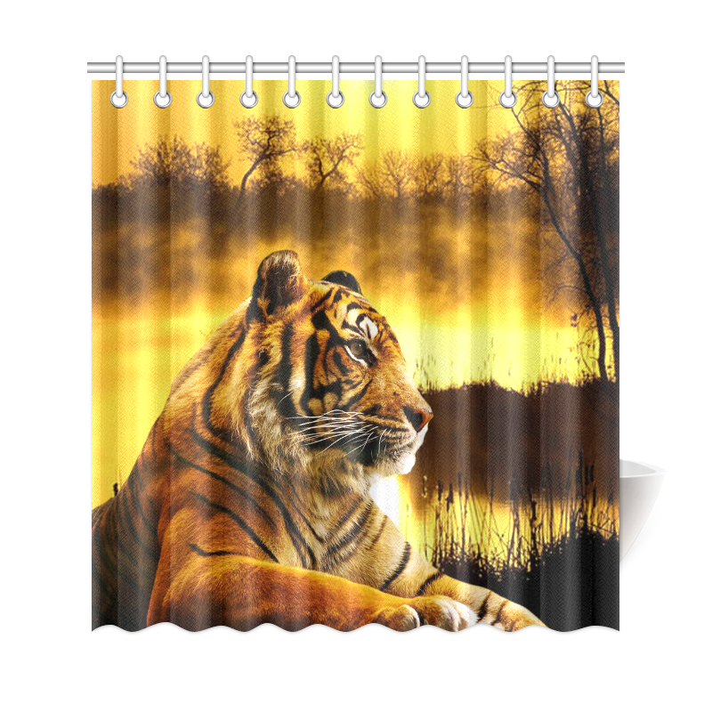 "Tiger and Sunset Shower Curtain 69""X72"". FREE Shipping. FREE Returns."