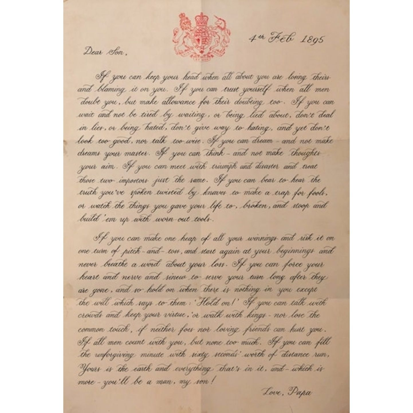 If Rudyard Kipling Typography Poster Letter To My Son