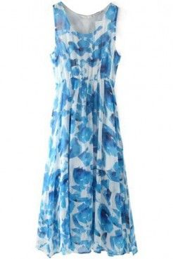 LUCLUC Sky Blue Floral Print Scoop Maxi Dress