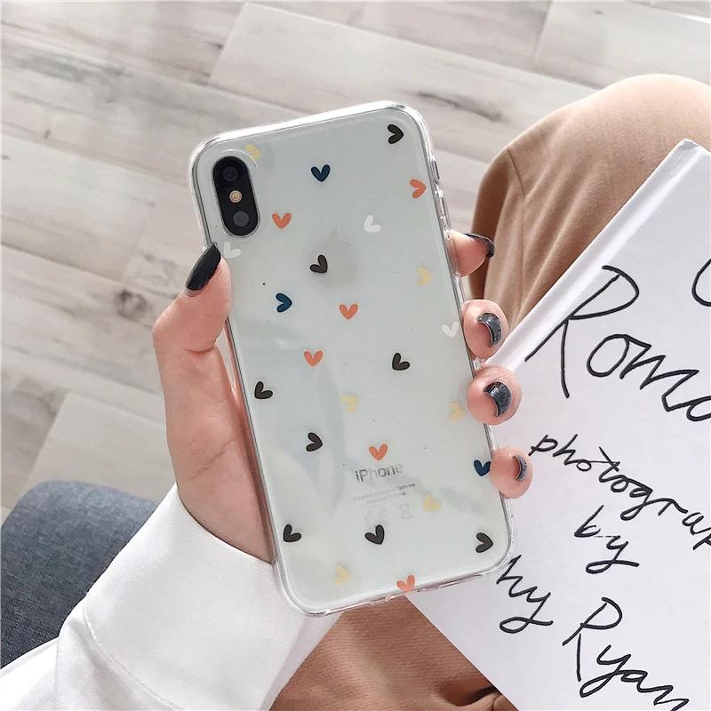 Floral Love Heart Transparente Handyhüllen für iPhone X XS Max XR 6 6S 7 8 Plus Hülle Weiche Silikon Anti-Klopf-Schutzhülle für iPhone   – iPhone Cases
