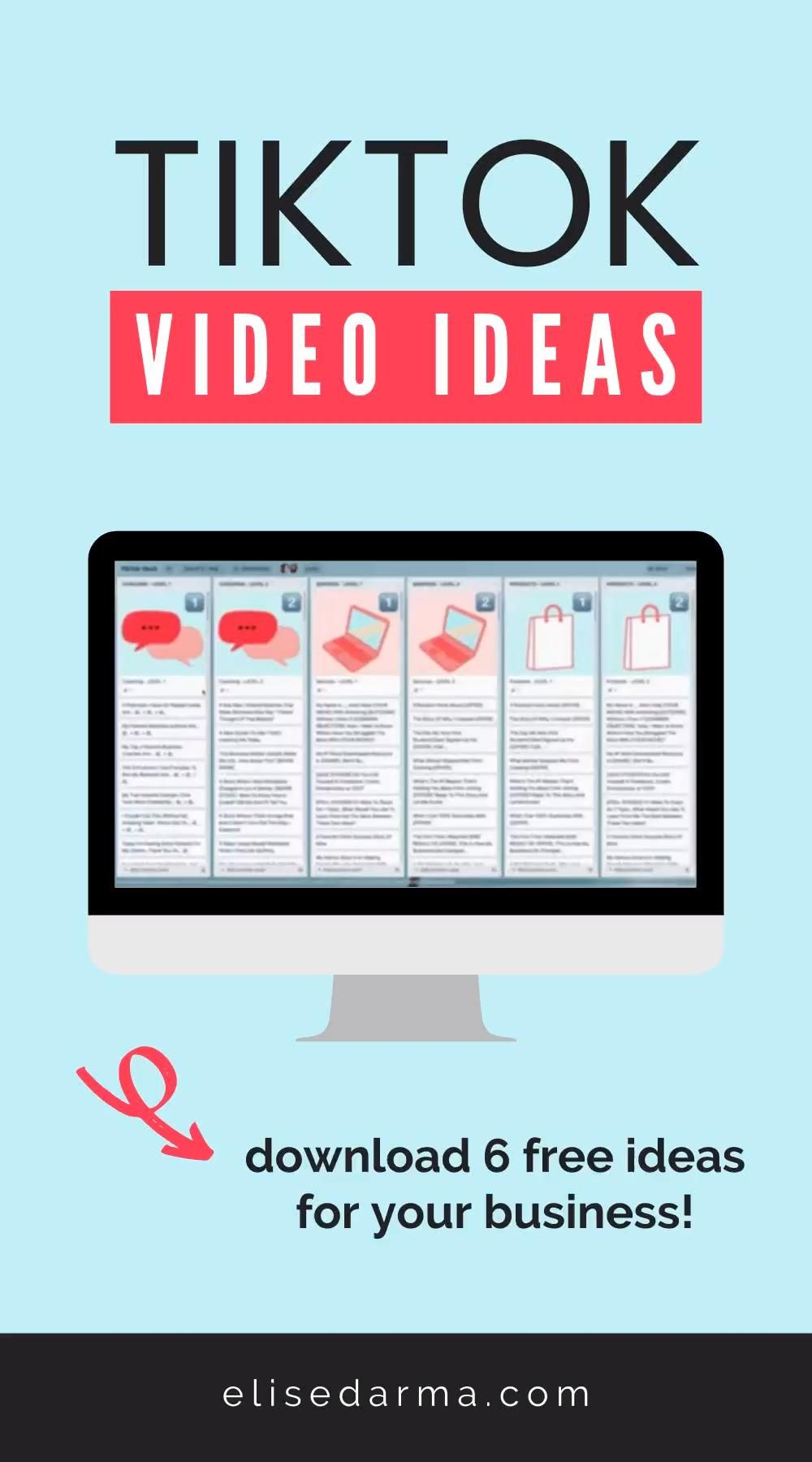 Get 6 Free Tiktok Video Ideas For Your Business Video Social Media Marketing Method Social Media Tool