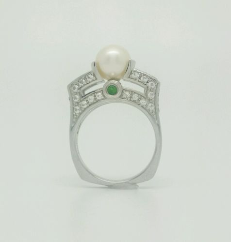 8MM GENUINE PEARL, WHITE TOPAZ .52 CTW & CHROME DIOPSIDE .21 CTW 925 STERLING 7