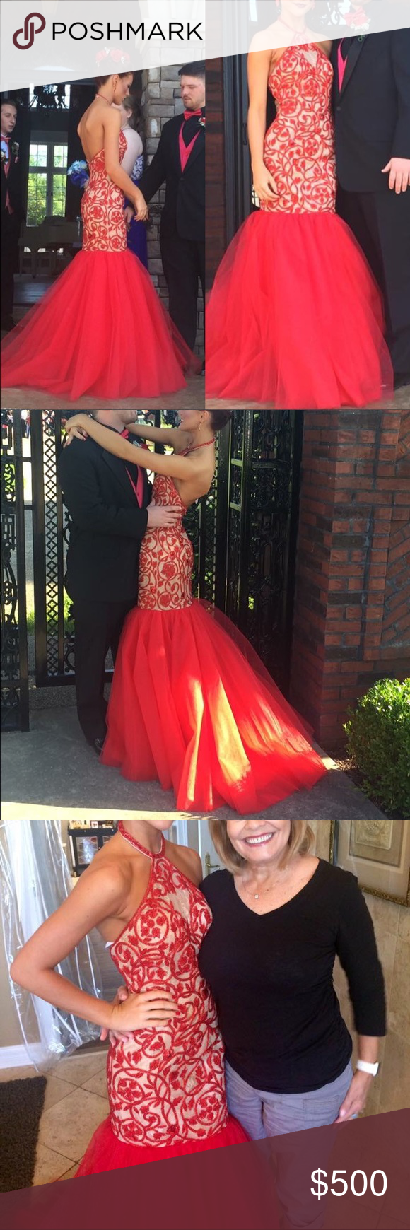Red sherri hill prom dress size only worn once originally bought