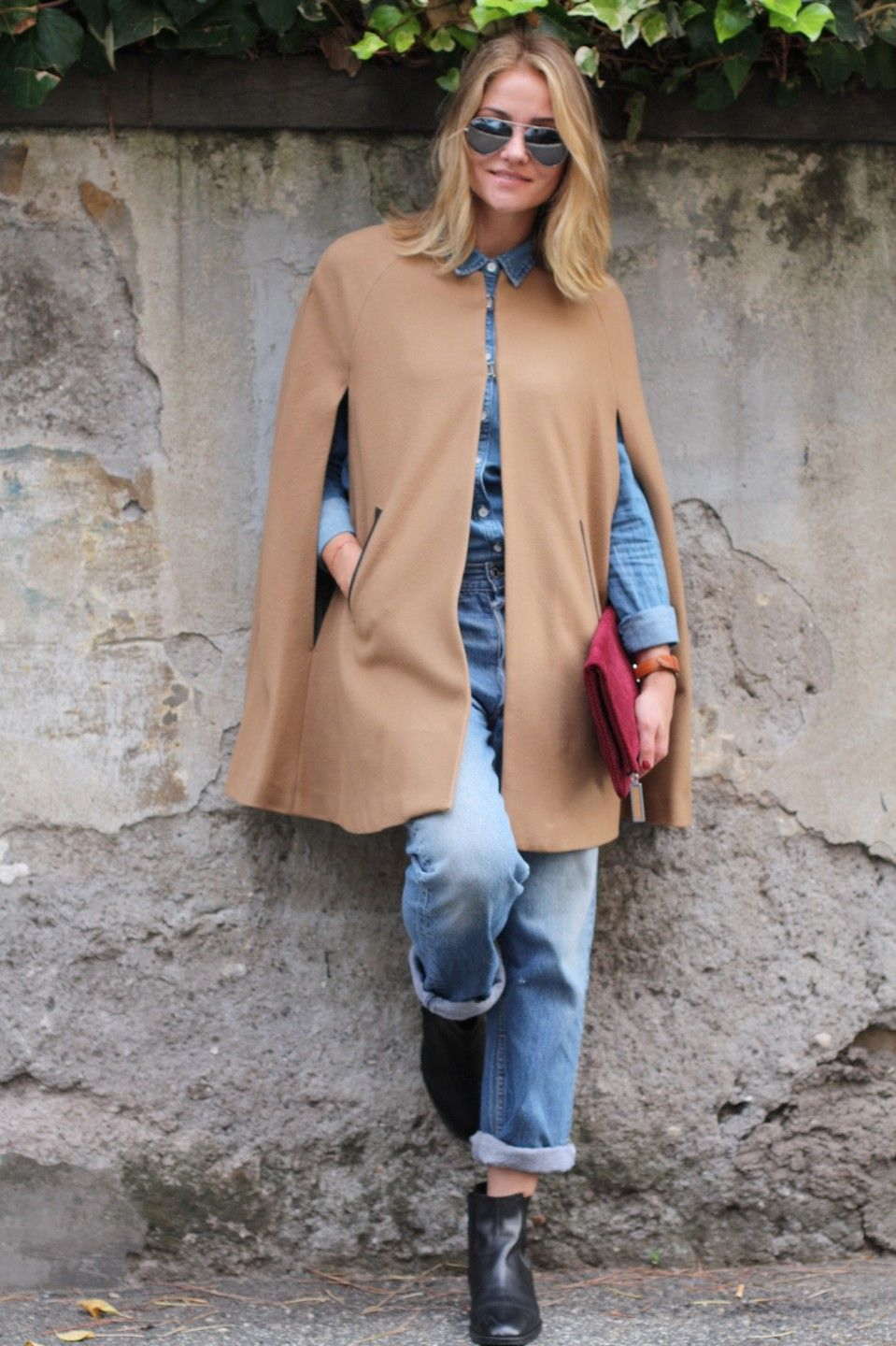 ab67f3e96cb0 Tomboy Style - Mango Trimmed Wool-Blend Cape    Gap Chambray Shirt     Vintage 501 Levi Jeans    J.Crew Chelsea Boots    August The Ravello Clutch     Ray-ban ...