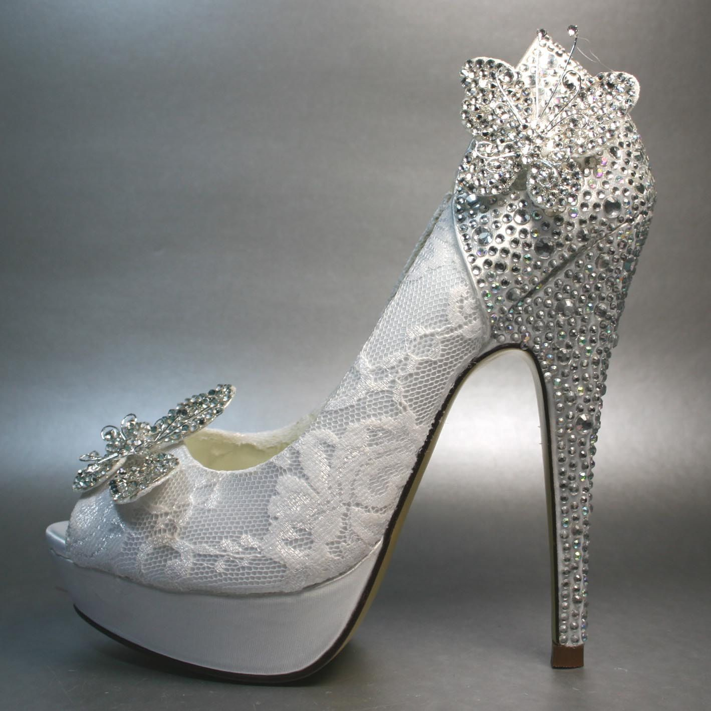 2018 shoes authentic quality lowest price Wedding Shoes -- White Platform Peeptoe with Silver Crystals on ...