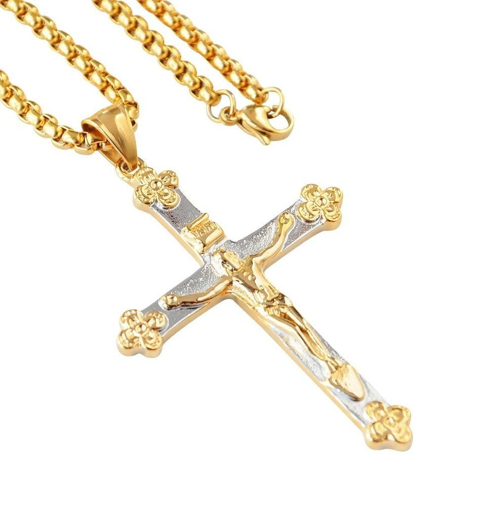 Mens cross jesus necklace stainless steel women chain jewelry mens cross jesus necklace stainless steel women chain jewelry pendant gold new aloadofball Gallery