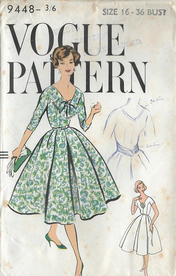 Vogue 9448 dress sewing pattern factory folded 1950s dress ...