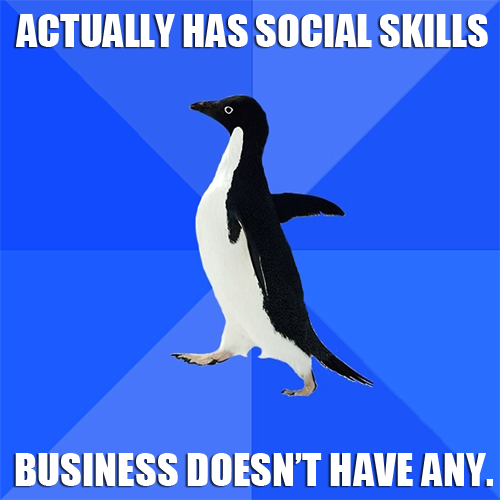 Actually has social skills. Business doesn't have any. We offer Social Media Marketing to all industries. Visit www.dmacentral.com for more details about our services. For more inquiries, please feel free to contact our hotline number 866.920.5103. Are you interested? SIGN UP NOW to get a free quote! #leadgeneration #telemarketing #appointmentsetting #webdesign #SEO #socialmediamarketing
