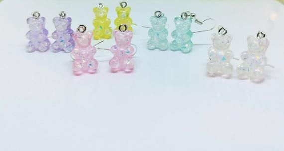 Pastel Holo Glitter Gummy Bear Earrings | Resin Gummi Candy Jewelry | Tiny Candy Dessert Jewelry Your Choice of Color #labordaydesserts