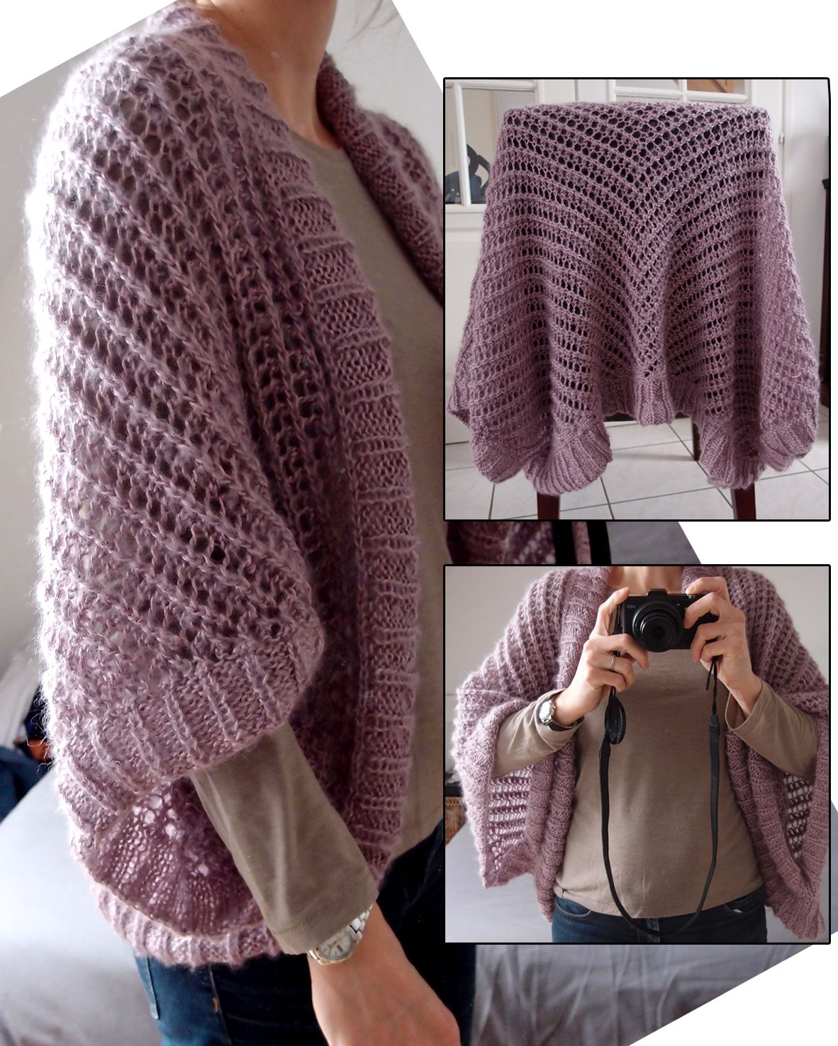 Free Knitting Pattern for Lace Sweater Wrap -This lace cardigan is ...