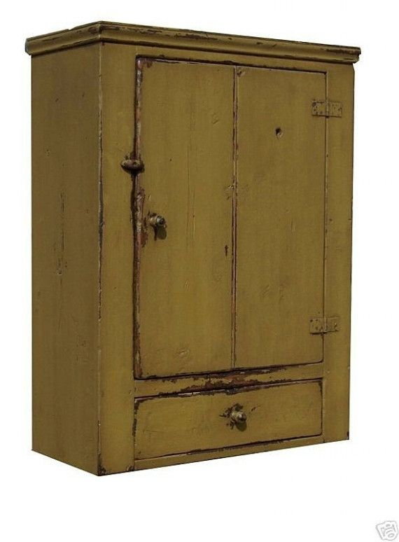Primitive Cabinet Painted Country Furniture | Primitive Wall Cupboard  Cabinet Painted Country Pine Early .