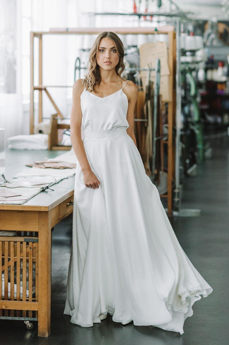Modernes Langes Brautkleid Brautkleid Hochzeit Lang Seide