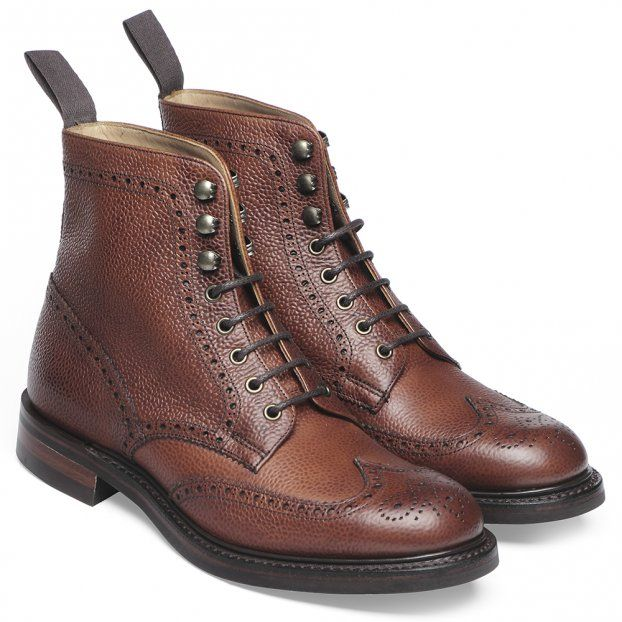 Cheaney Olivia R Ladies Wingap Brogue Country Boot in Mahogany Grain Leather
