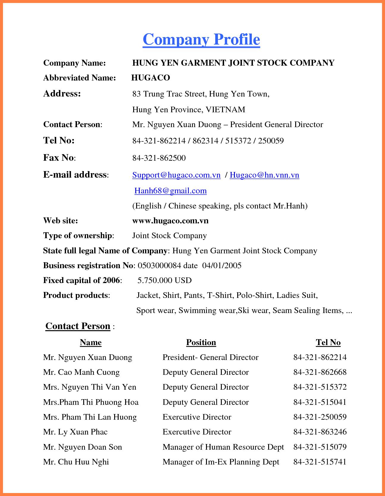 4+ company profile template doc Company Letterhead