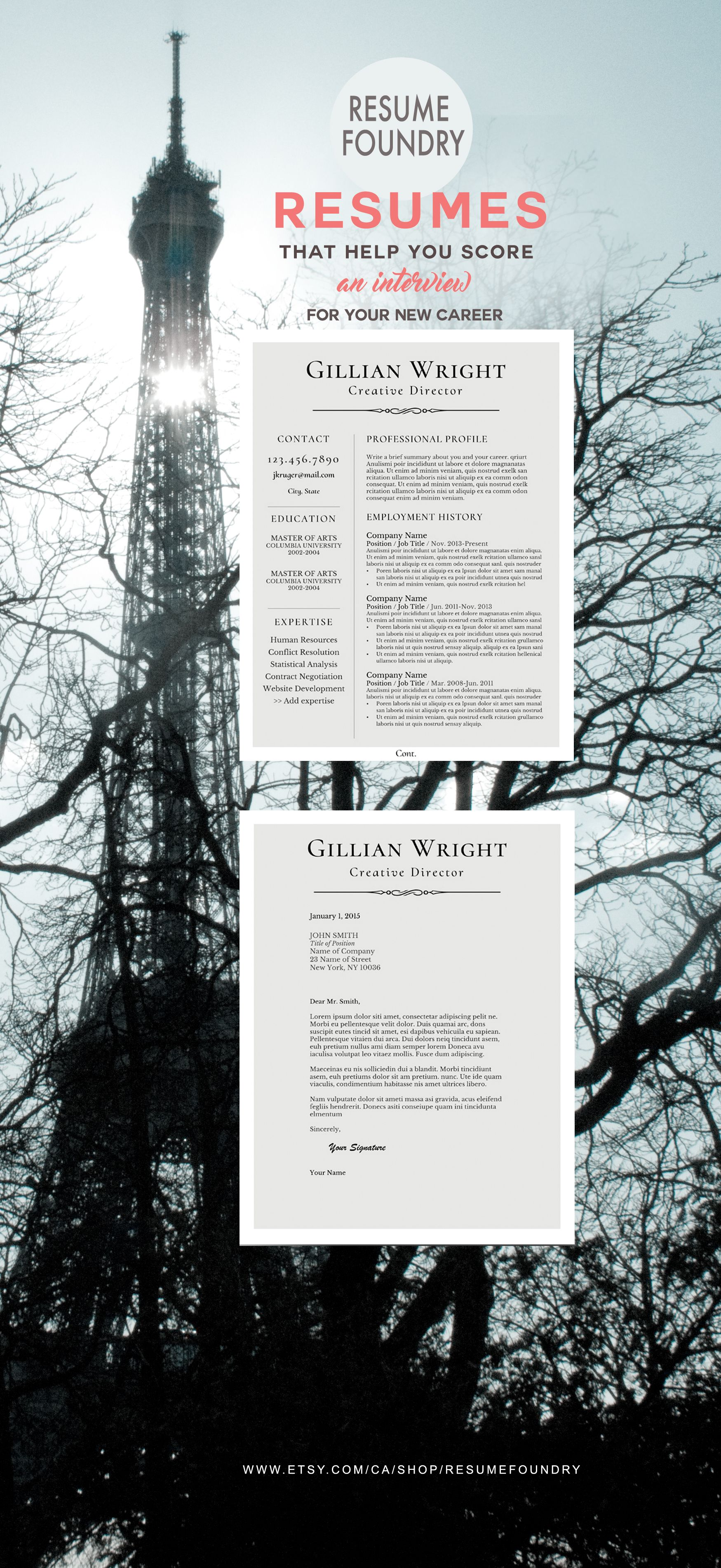 Elegant Resume Template  The Gillian  Professional Resume