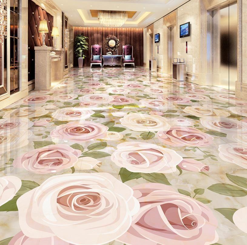 3d Floor Self Adhesive Europea Custom Plant Flower 3d Marbling Floor Pink Rose Self Adhesive Wear Waterproof Pv Floral Floor Tiles Floor Murals Floor Wallpaper