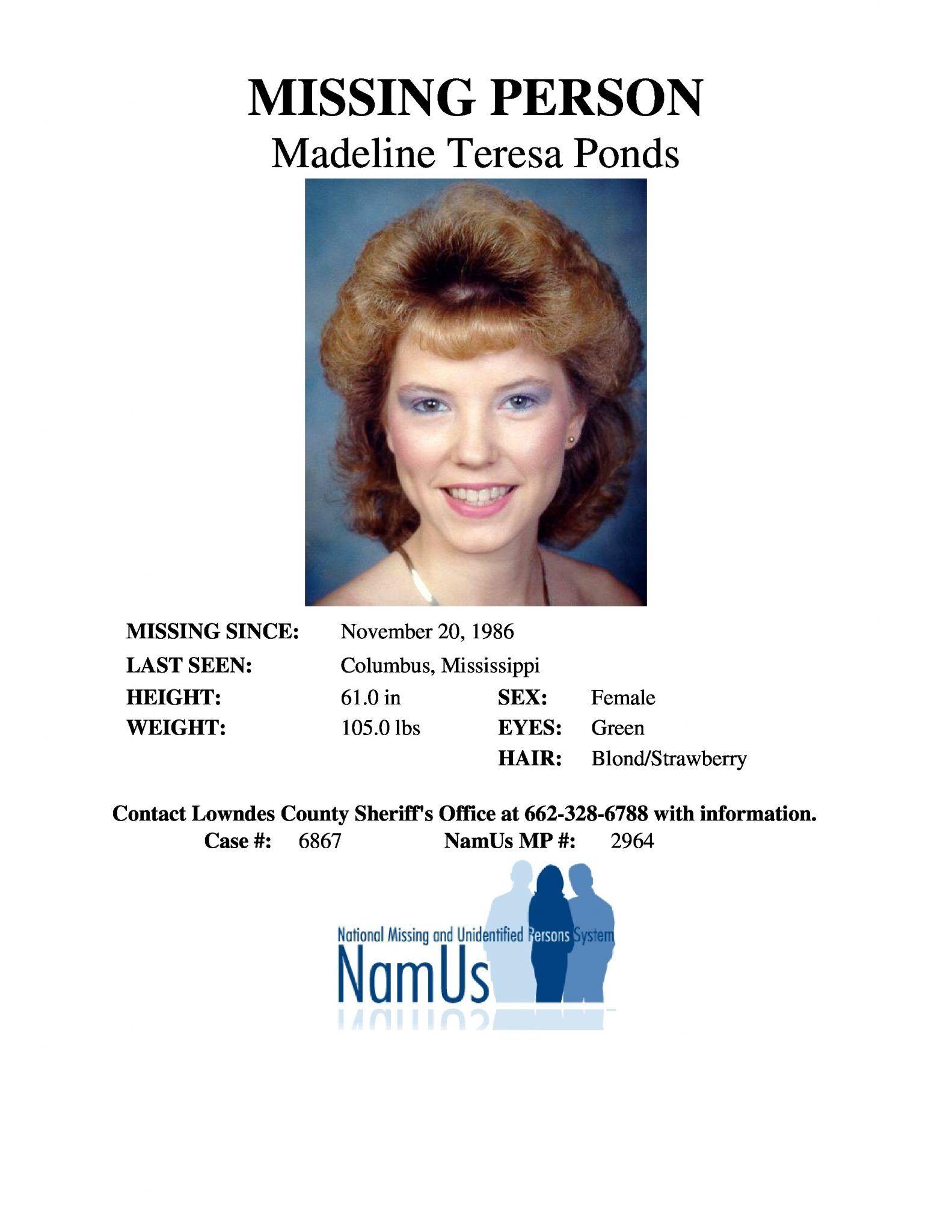 Find Missing Madeline Teresa Ponds! Cold case, Missing