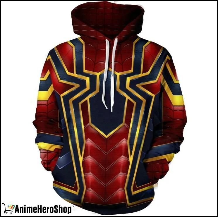 Iron Spider-Man Hoodie Avengers Infinity War Spiderman Coat Pullover Costume Men