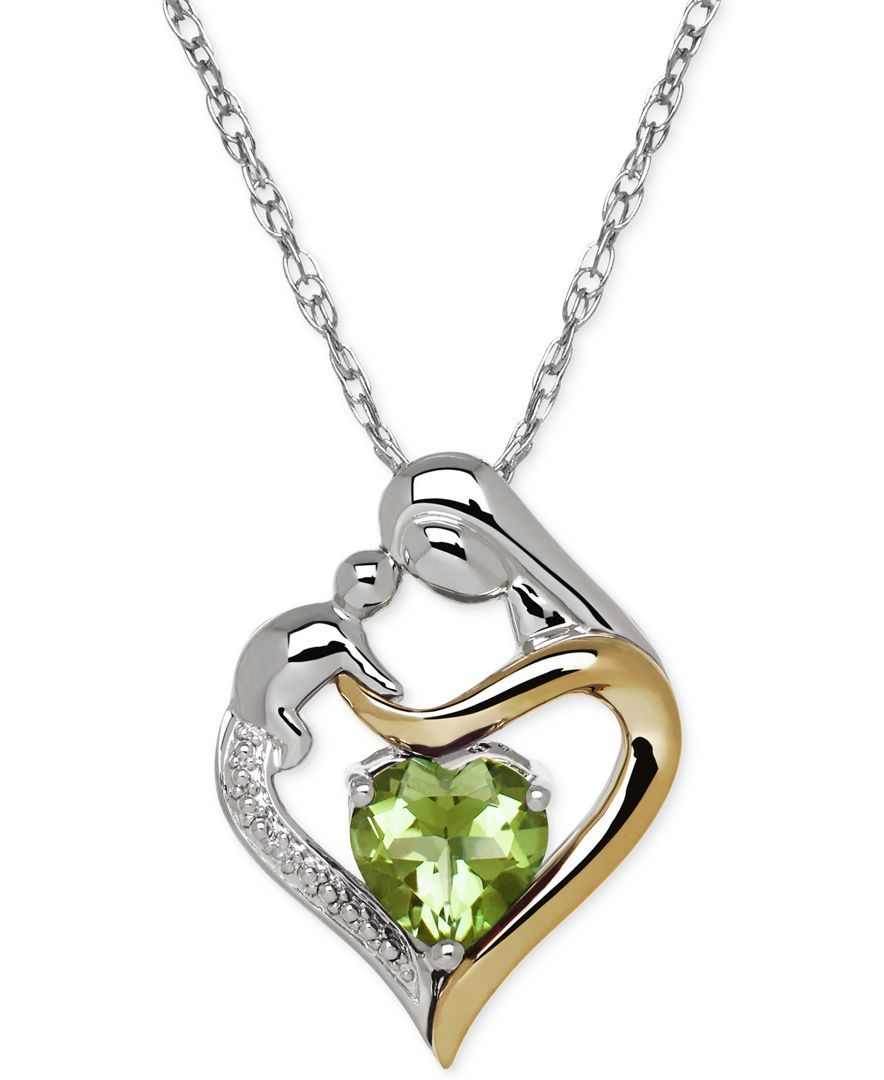 Sterling Silver Heart Peridot and Diamond Heart Charm Pendant