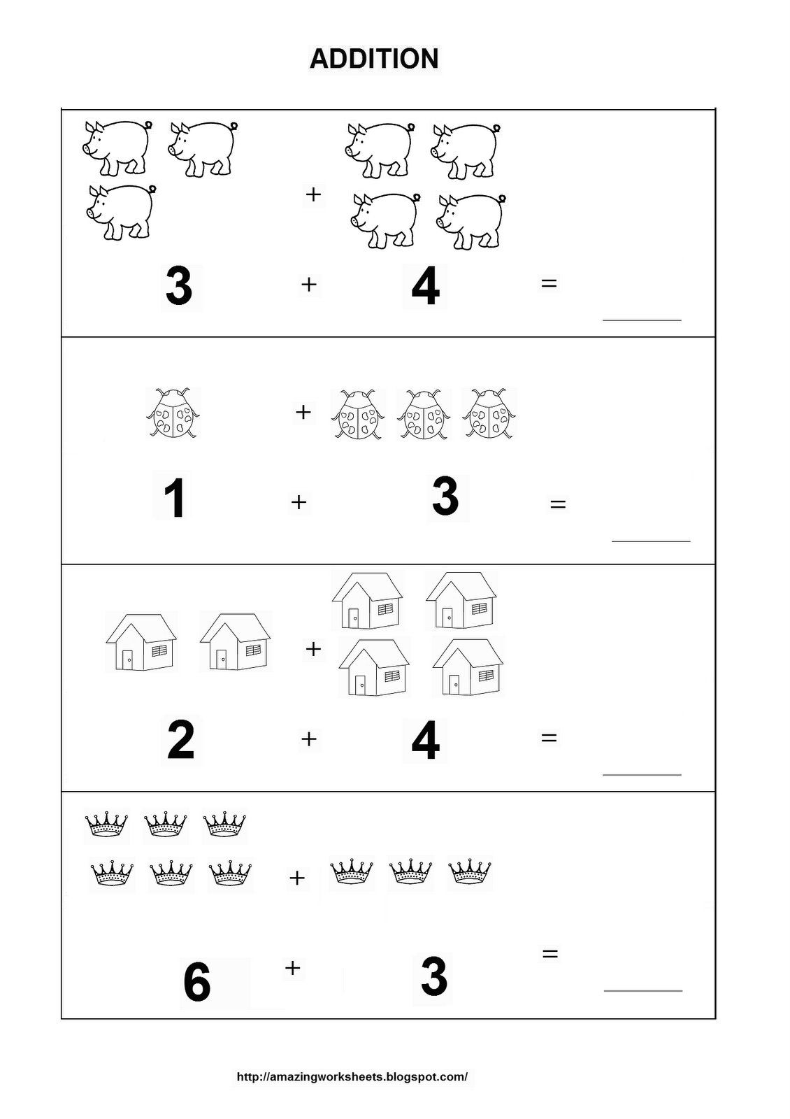 math worksheet : addition worksheet  homeschooling addition  pinterest  : Addition Worksheets For Kinder