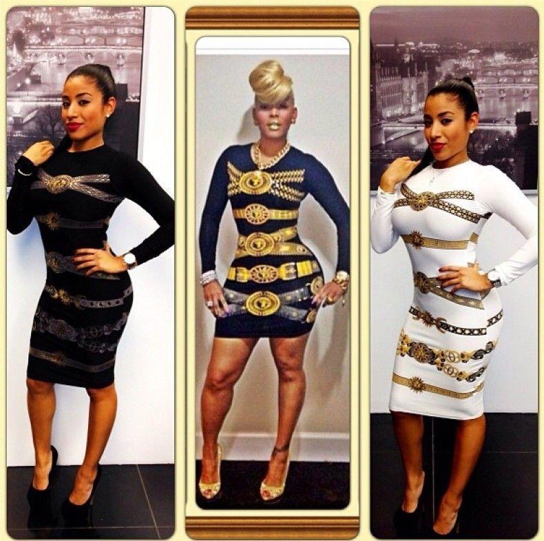 Ws2014 nuevas mujeres atractivas de vestido ajustado impresión oro manga larga hasta la rodilla longitud del o cuello del partido vestido del vendaje envío gratuito en Vestidos de Moda y Complementos Mujer en AliExpress.com | Alibaba Group