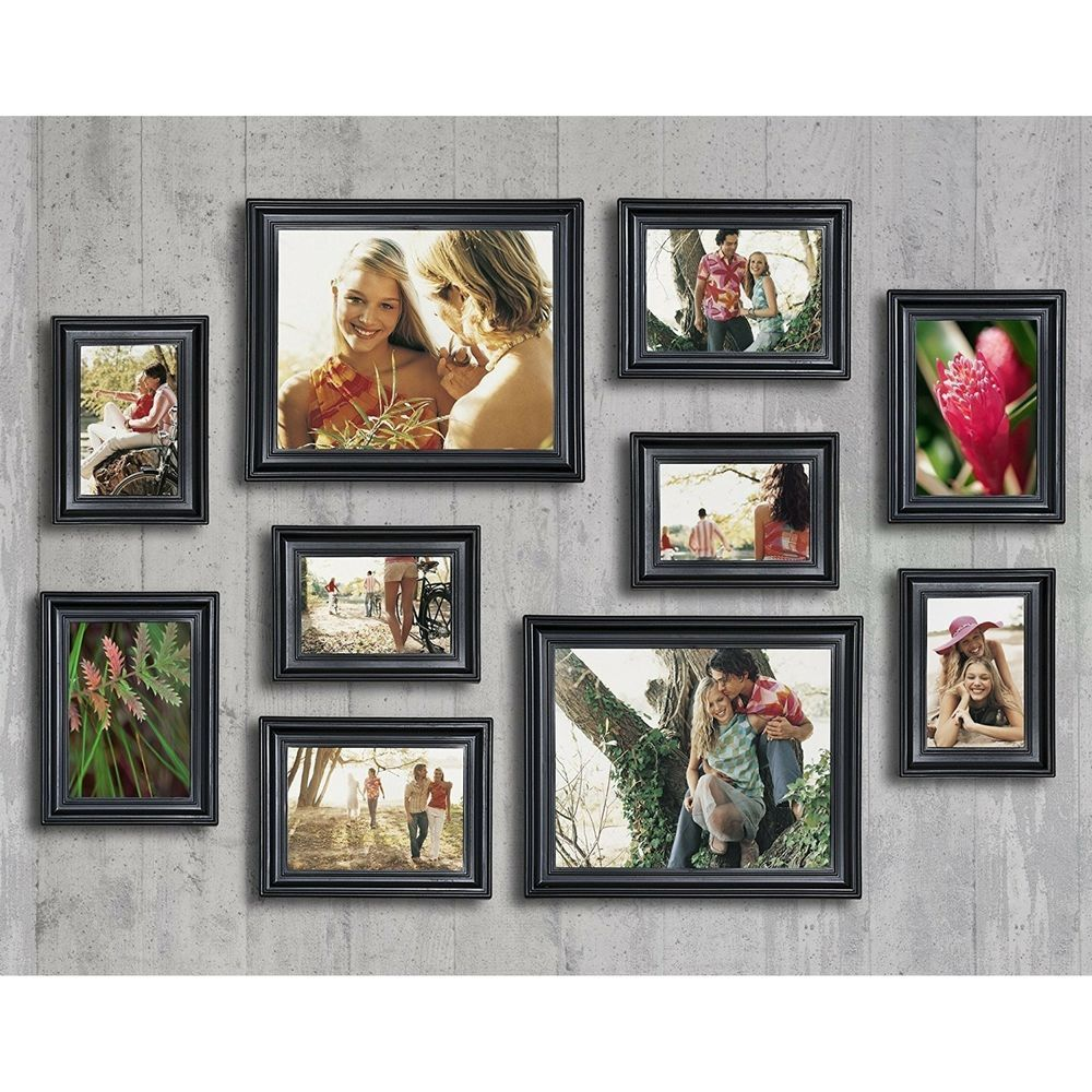 10 Piece Photo Picture Art Frame Set Black Hanging Table Top Display Home Decor Home Amp Garden Home Picture Frame Sets Frame Wall Collage Picture Frames
