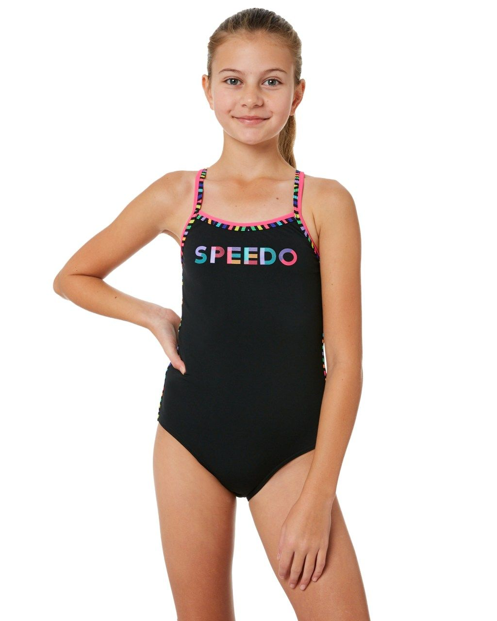 db3f3fd1b7852 Speedo Kids Girls Sierra One Piece Black Multi Lines Girls swimsuits Size 12
