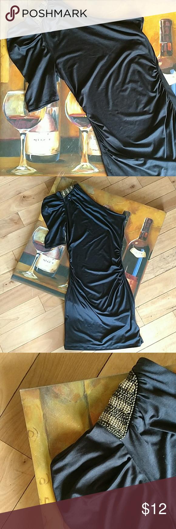 🎀 One Shoulder Embellished Little Black Dress