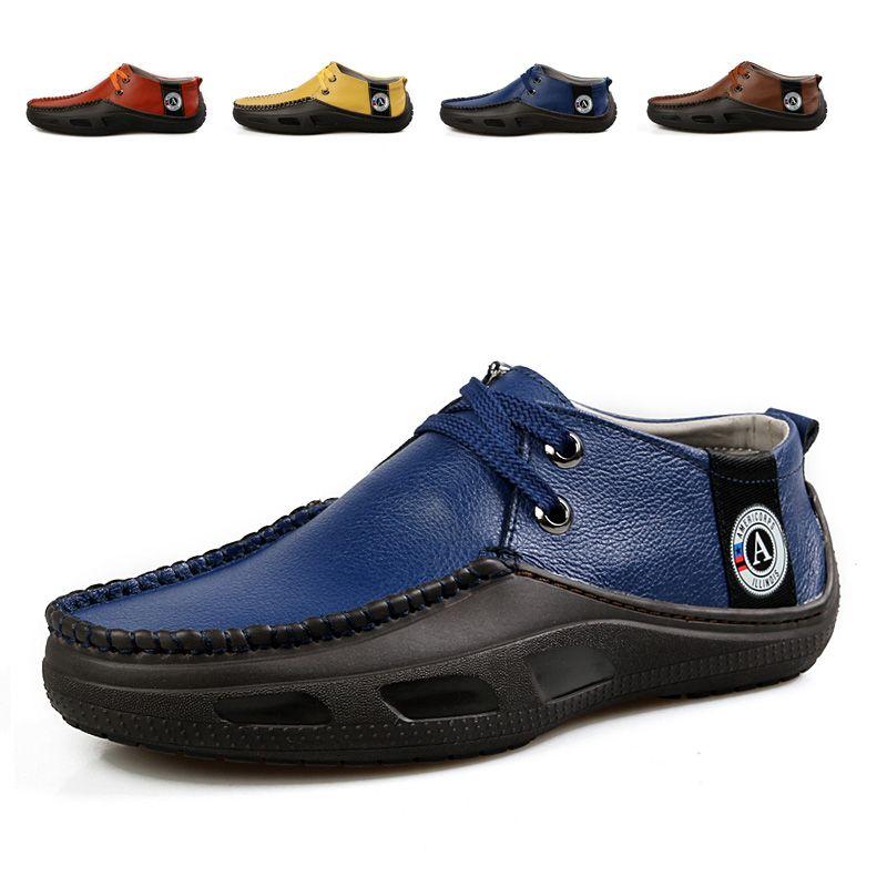 Nova chegada 2013 homens a tendência de sapatos de couro moda casual couro genuíno respirável todo-match baixo $54,46