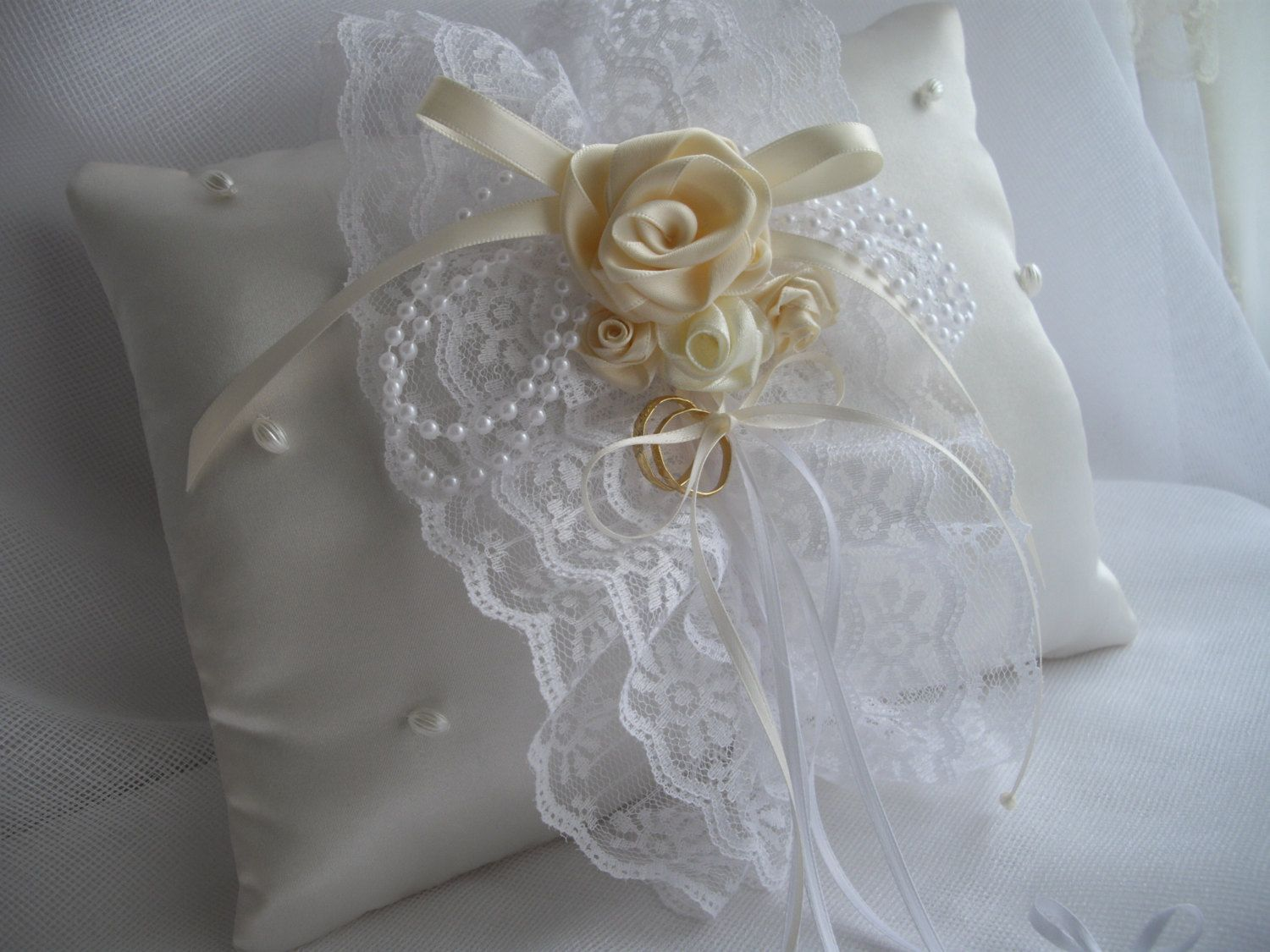 Ring Bearer Pillow White Cream Ribbon Roses Lace Pearls
