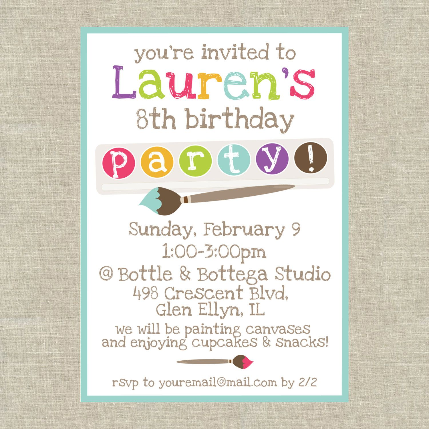 Painting Party Birthday Invitation Customized by 5foot12studio ...