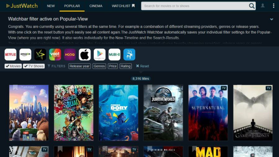 Justwatch a search engine to find movies and shows on