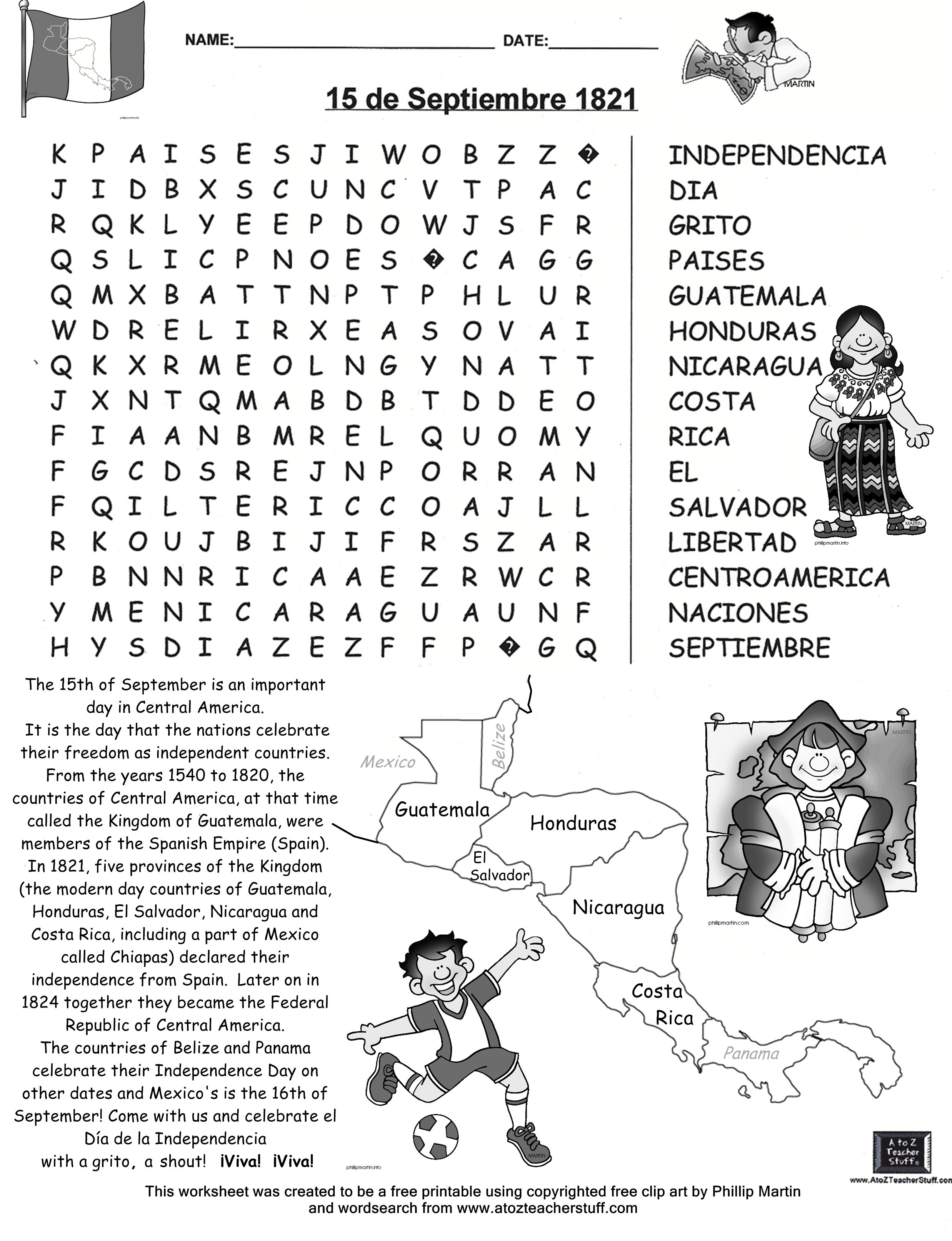 Uncategorized Hispanic Heritage Month Worksheets wordsearch for 15 de septiembre free printable by dennas ideas spanish teaching resources