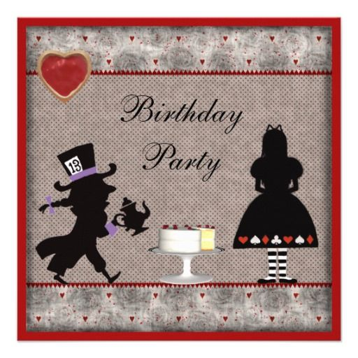 Alice & Mad Hatter Birthday Party Invites