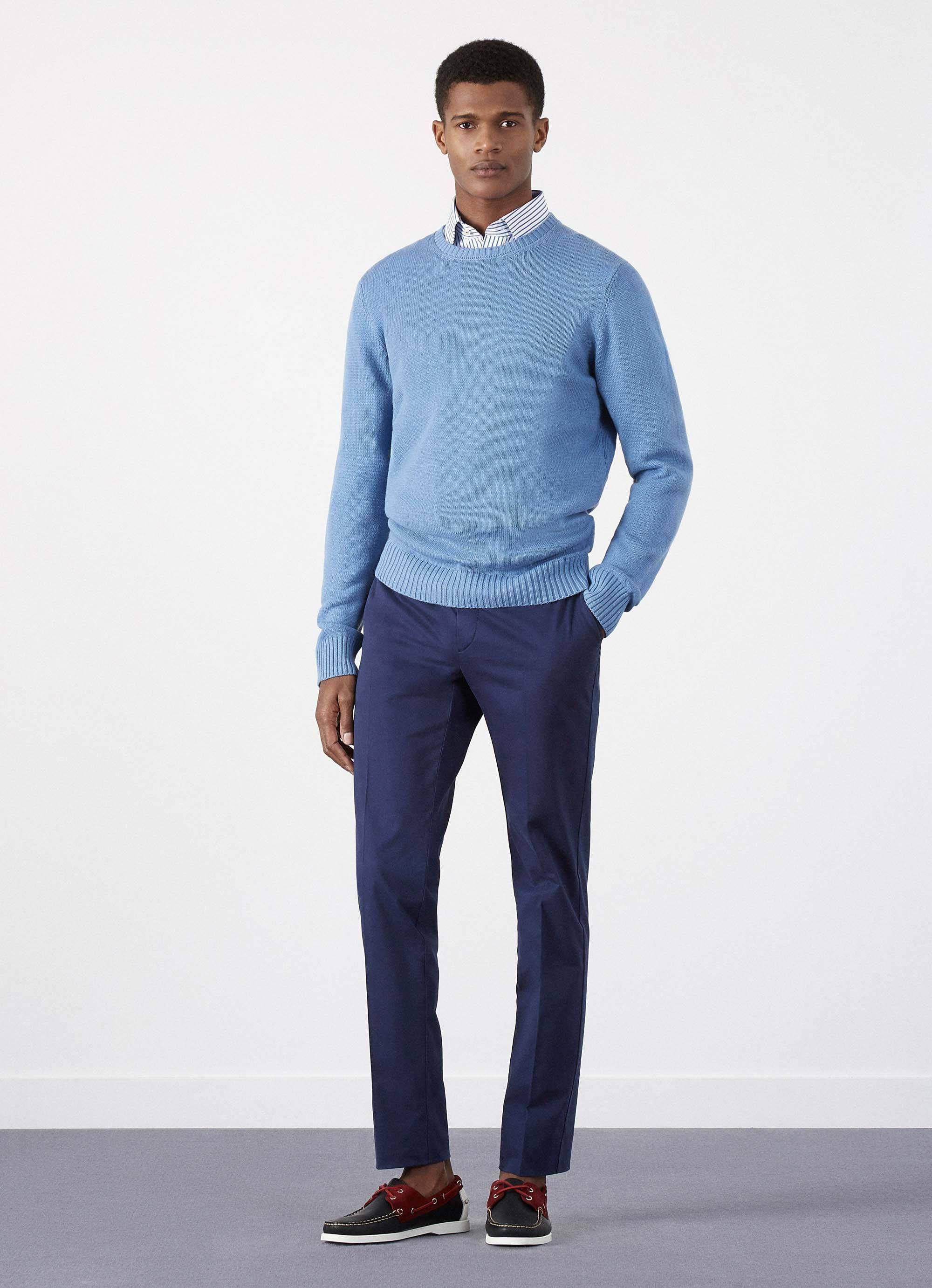 Wool and Cotton Crew Neck Jumper - Knitwear - Clothing - Men | Hackett